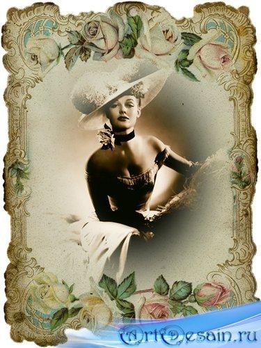 Женский шаблон для фотошоп - Кокетка в шляпке ретро