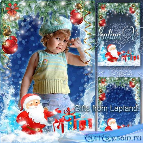 Новогодняя рамка с Санта Клаусом - Подарки из Лапландии