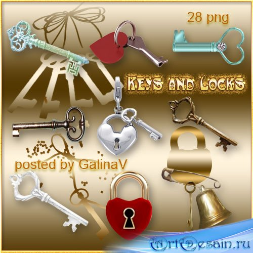 Клипарт PNG для дизана - Ключи, замки