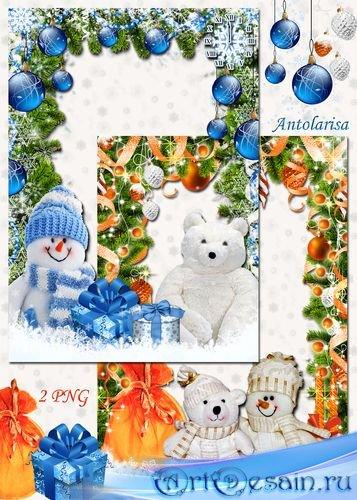 Рамки для фото со снеговиком и мишкой