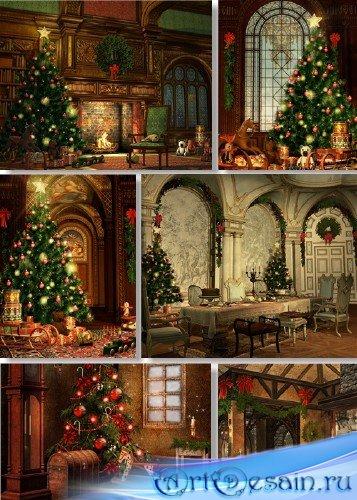 Растровый клипарт - Рождественский домашний интерьер