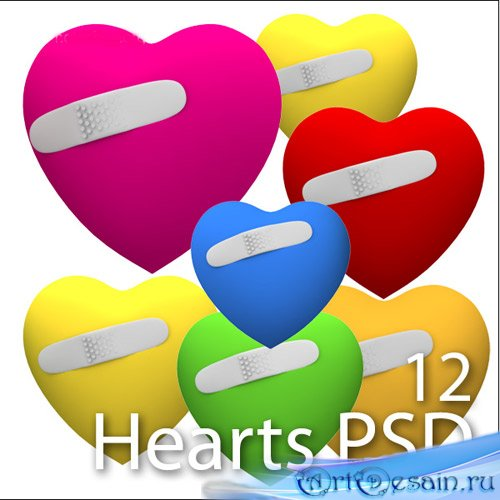 Разноцветные 3D сердца