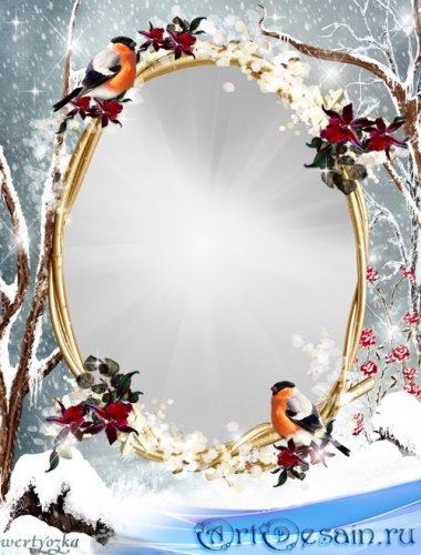 Зимняя рамка для фото - Словно отблески зари на деревьях снегири