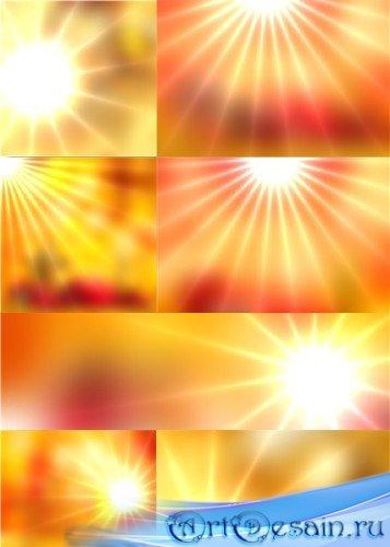 Растровые клипарт - Золотистые фоны с лучами солнца