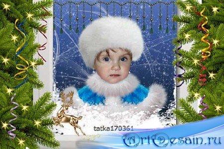 Новогодний шаблон девочкам - Снегурочка за окном