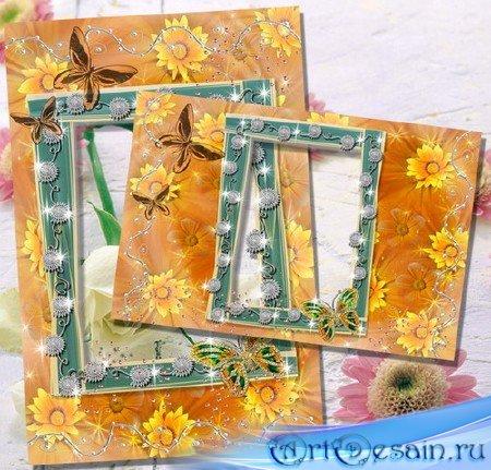 Рамки для фото - Оранжевые цветочные