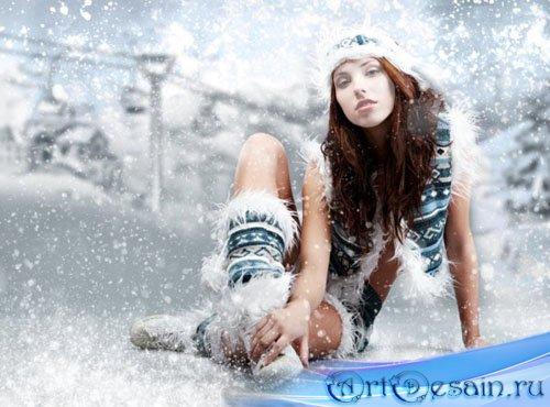 Шаблон для фото - зимнее фото