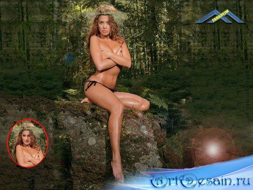 Женский шаблон для фотомонтажа Лесная нимфа