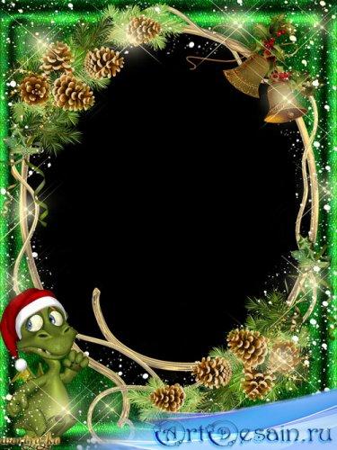 Новогодняя рамка для фото - Дракончик в еловых шишках