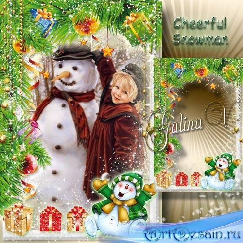Детская Новогодняя рамка - Весёлый снеговик