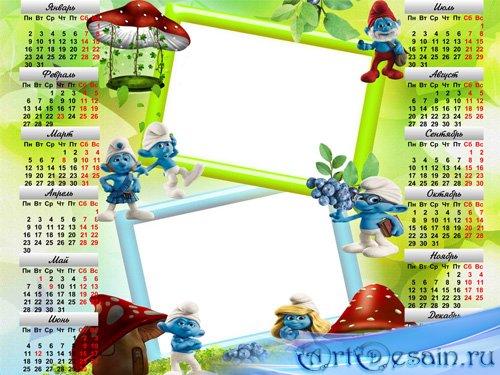 Рамка - календарь - Сказочная страна Смурфляндия