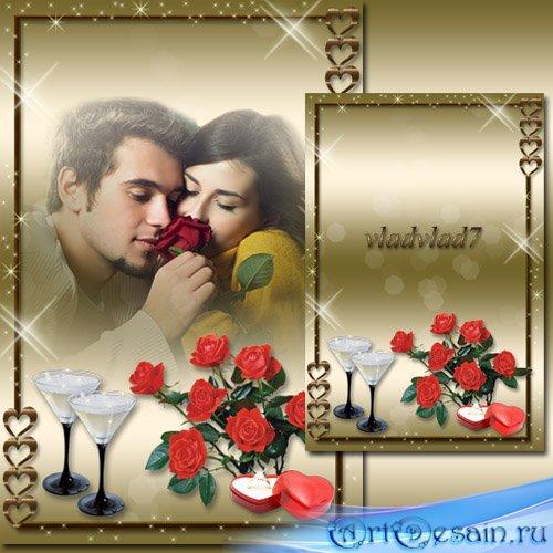 Романтическая фоторамка - Красные розы, кольцо, бокалы...