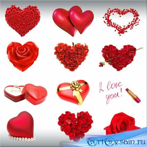 Клипарт PNG Красные сердечки ко Дню Валентина