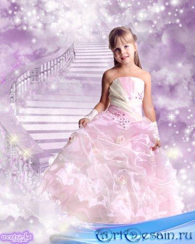 Детский шаблон для фотошоп - Очаровательная малышка в нежно-розовом платье