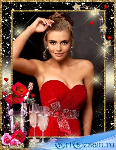 Романтичная рамка для фото - Бокалы шампанского и розы