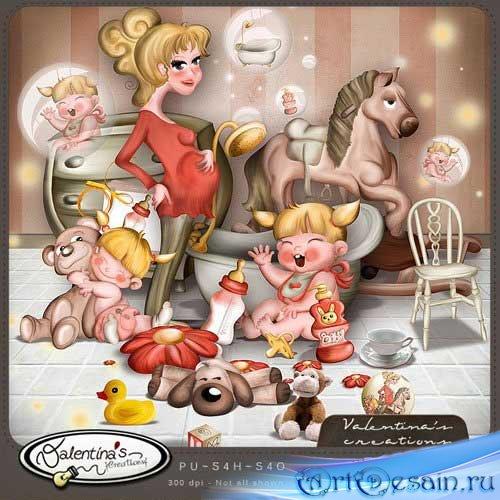 Красивый детский скрап-набор - Простая семья. Scrap - Just Family