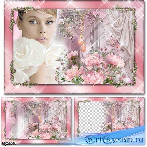 Женская рамка для фотошопа – Любимые цветы