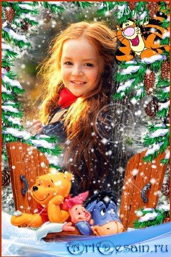 Детская фоторамка - Тирга и все-все в зимнем лесу