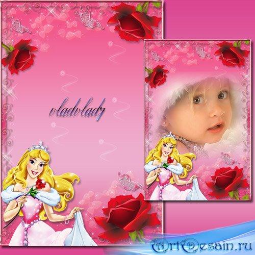 Фоторамка для девочек - Принцесса Аврора, цветы и бабочки