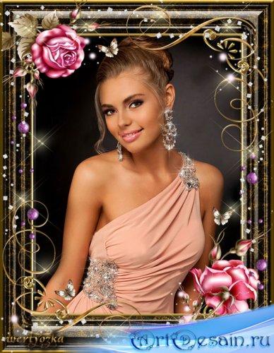 Рамка для фото - Розовые розы и порхающие бабочки