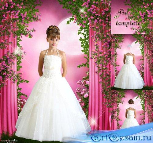 Многослойный детский шаблон - Маленькая принцесса в чудесном белом платье