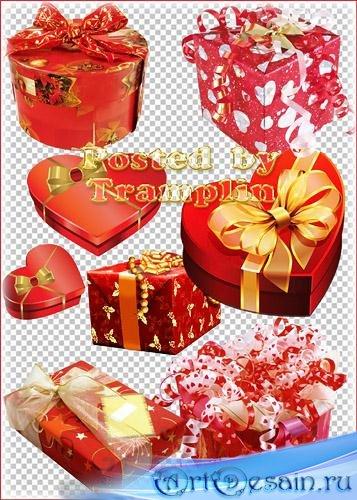Клипарт – Подарки ко дню влюбленных с сердечками, мишурой, бантами