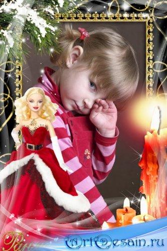 Новогодняя рамка с Барби в красном платье