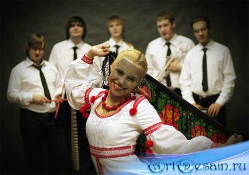 PSD шаблон для фотошоп - народный танец
