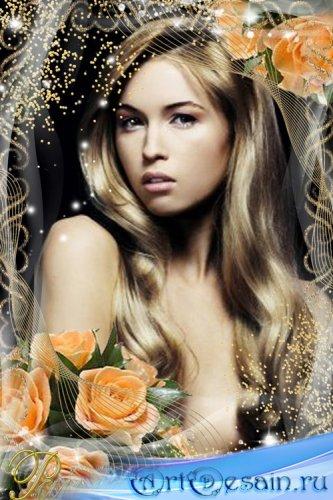 Золотистая рамка с букетом персиковых роз