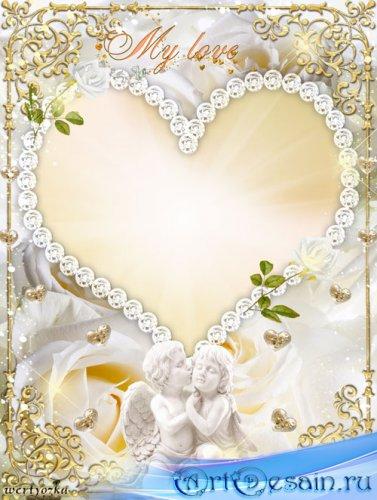 Романтичная рамка для фото - Очаровательные ангелочки и белые розы