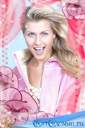 Рамка для фото Цветочная с розовыми цветами