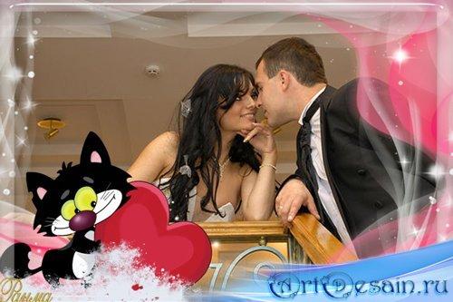 Романтичная рамка с котенком