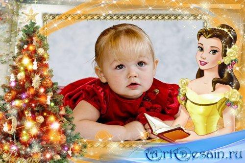 Новогодняя рамка для фото с принцессой