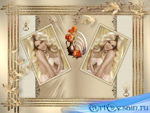 Женская рамка ваза с розами, на две фото