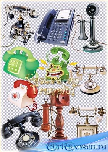 Телефоны разные на прозрачном фоне