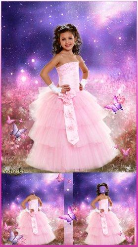 Детский многослойный шаблон - Девочка в розовом платье на сказочном фоне