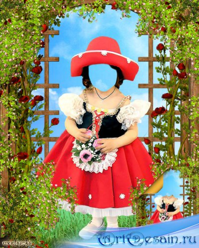 Детский многослойный psd шаблон - Сказочный персонаж Красная Шапочка