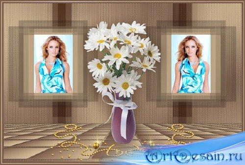 Женская рамка, ваза с ромашками - коллаж № 3
