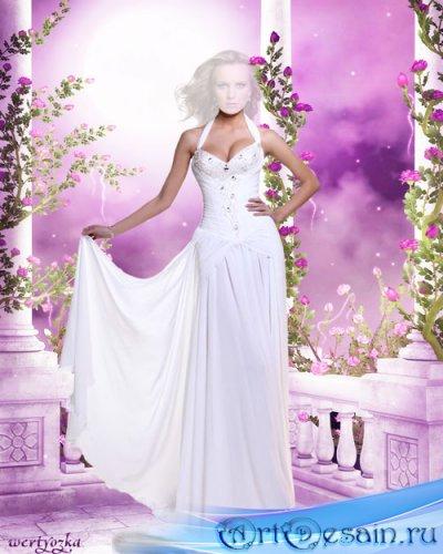 Женский шаблон - Девушка в длинном белом платье