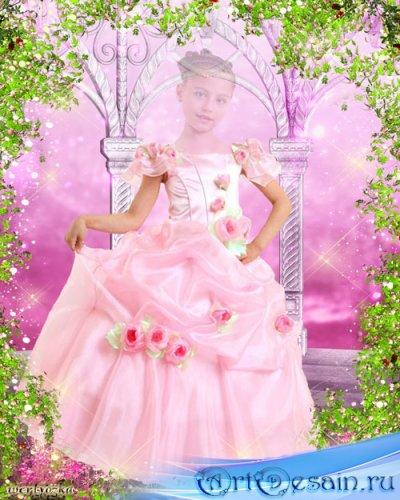 Детский многослойный psd шаблон для девочки - В розовом платье с чудесными  ...