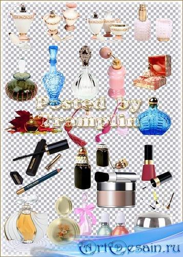 Клипарт на прозрачном фоне – Косметика, духи, пудра, помада, тушь, румяна