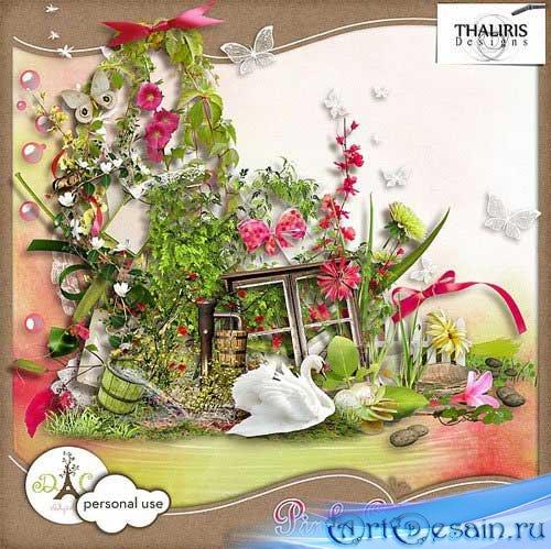Красивый цветочный скрап-набор - Розовый сад. Scrap - Pink Garden