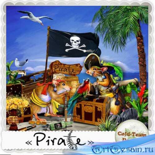 Детский рисованный скрап - Пират. Scrap - Pirate