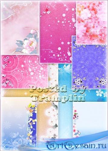 Новый набор нежных весенних фонов с цветами для вашего творчества