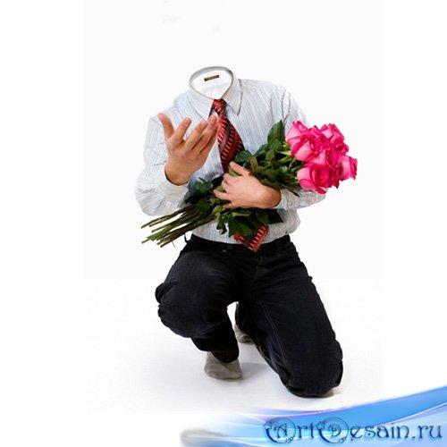 Шаблон для фотомонтажа - розы для тебе в этот день