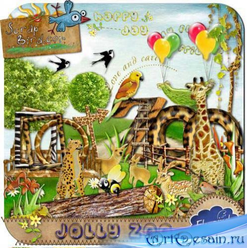 Детский скрап-набор - Веселый зоопарк. Scrap - Jolly Zoo