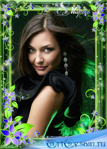 Цветочная рамка на 8 марта - Синие цветочки в зеленом сиянии