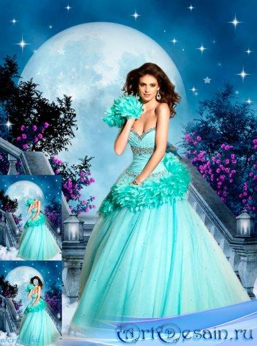 Многослойный женский psd шаблон - Девушка в платье цвета лазури и волшебная ...