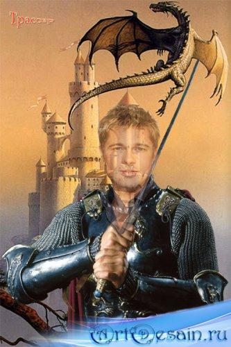 Шаблон мужской  –  Рыцарь с мечом, бой с драконом
