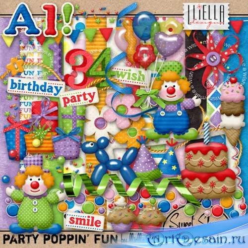 Скрап-набор - Забавы Попинна. Scrap - Party Poppin' Fun